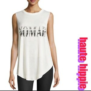 Haute Hippie Nomad Graphic Open Back Tank Top